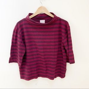 t.la Anthropologie mock neck striped blouse M